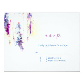Watercolor Feathers Boho Wedding RSVP Card