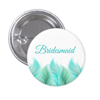 Watercolor Feathers Bridesmaid 3 Cm Round Badge
