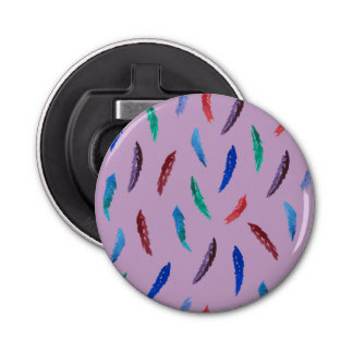 Watercolor Feathers Button Bottle Opener