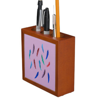 Watercolor Feathers Desk Organizer