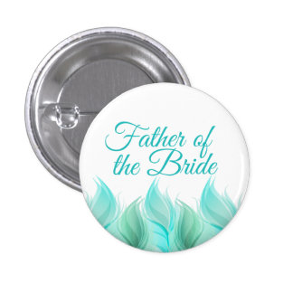 Watercolor Feathers Father of the Bride 3 Cm Round Badge