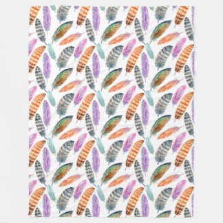 Watercolor Feathers Fleece Blanket