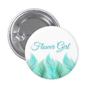 Watercolor Feathers Flower Girl 3 Cm Round Badge