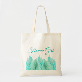 Watercolor Feathers Flower Girl Wedding Tote Bag
