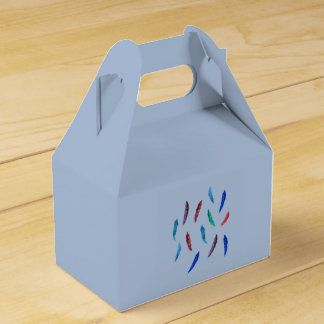 Watercolor Feathers Gable Favor Box