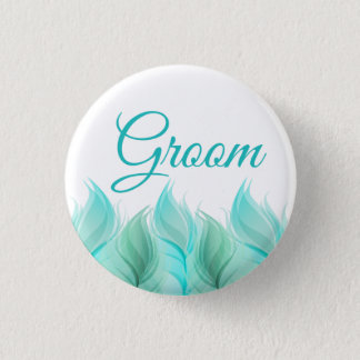 Watercolor Feathers Groom 3 Cm Round Badge