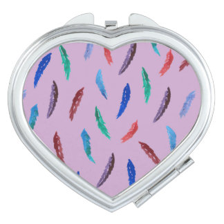 Watercolor Feathers Heart Compact Mirror