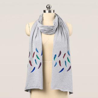 Watercolor Feathers Jersey Scarf