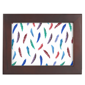 Watercolor Feathers Keepsake Box
