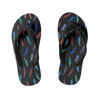 Watercolor Feathers Kids' Flip Flops