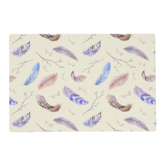 Watercolor Feathers Leaves and Branches Pattern Laminated Place Mat