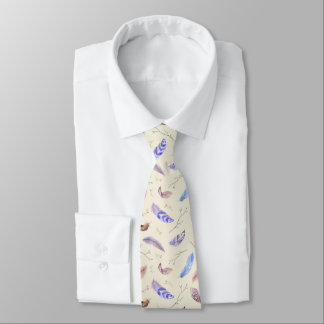 Watercolor Feathers Leaves and Branches Pattern Tie