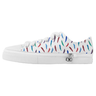 Watercolor Feathers Low Top Shoes