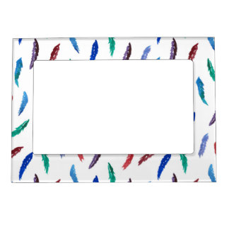Watercolor Feathers Magnetic Frame