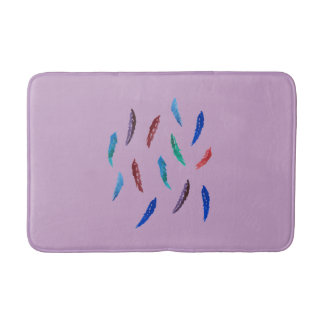 Watercolor Feathers Medium Bath Mat