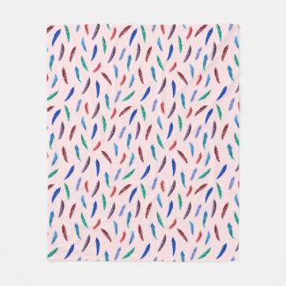 Watercolor Feathers Medium Fleece Blanket