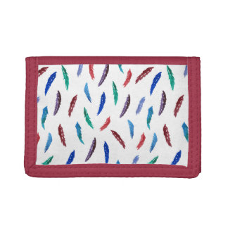 Watercolor Feathers Nylon Wallet