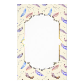 Watercolor Feathers Pattern with a Fancy Frame Custom Stationery