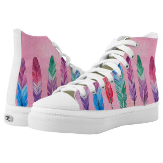 Watercolor feathers printed shoes