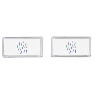 Watercolor Feathers Rectangle Cufflinks Silver Finish Cuff Links