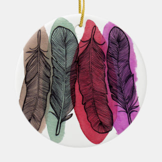 Watercolor Feathers Round Ceramic Decoration