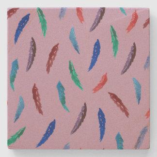Watercolor Feathers Sandstone Coaster