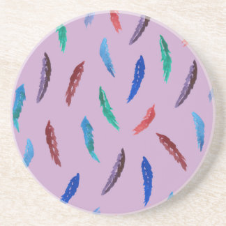 Watercolor Feathers Sandstone Drink Coaster