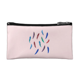 Watercolor Feathers Small Cosmetic Bag