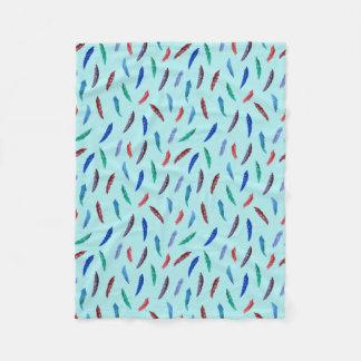 Watercolor Feathers Small Fleece Blanket