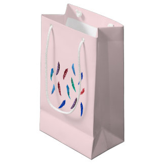 Watercolor Feathers Small Glossy Gift Bag