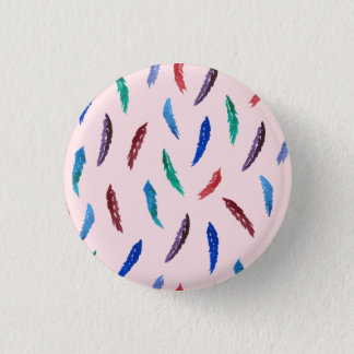 Watercolor Feathers Small Round Button