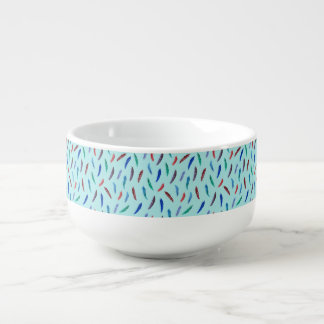 Watercolor Feathers Soup Mug