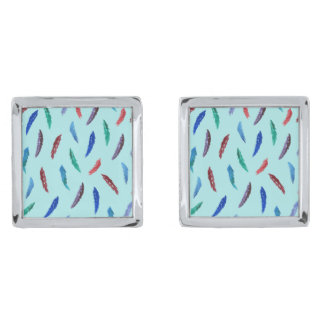 Watercolor Feathers Square Cufflinks Silver Finish Cufflinks