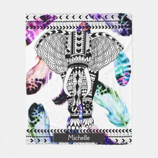 Watercolor Feathers Tribal Patterned Elephant Fleece Blanket