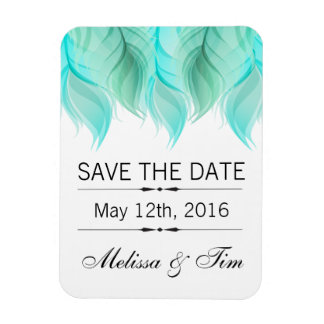Watercolor Feathers Wedding Save the Date Rectangular Photo Magnet