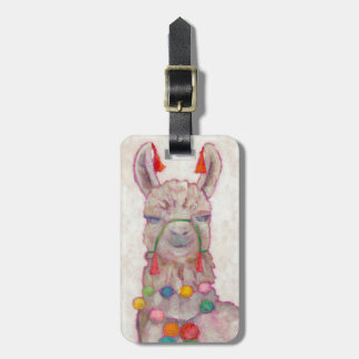 Watercolor Festival Llama Luggage Tag