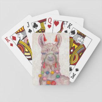 Watercolor Festival Llama Playing Cards