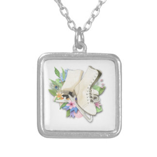 Watercolor Figure Skates Custom Giftware Silver Plated Necklace