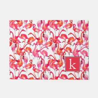 Watercolor Flamingo In Watercolors | Add Your Name Doormat