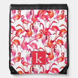 Watercolor Flamingo In Watercolors | Add Your Name Drawstring Bag