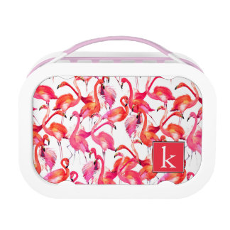 Watercolor Flamingo In Watercolors | Add Your Name Lunch Box