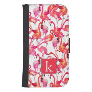 Watercolor Flamingo In Watercolors | Add Your Name Samsung S4 Wallet Case