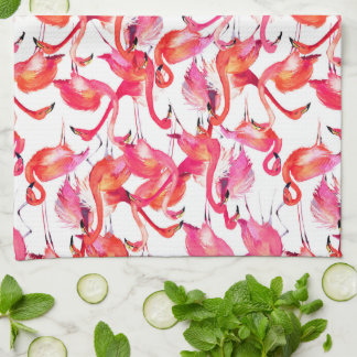 Watercolor Flamingo In Watercolors | Add Your Name Tea Towel