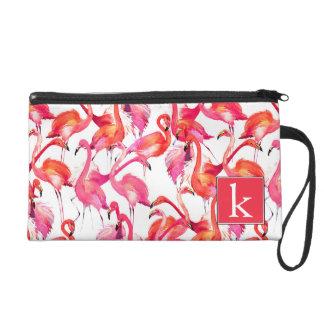 Watercolor Flamingo In Watercolors | Add Your Name Wristlet