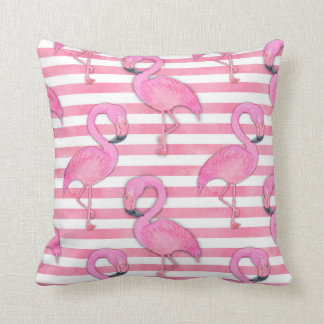 Watercolor Flamingo on Pink Stripes Cushion