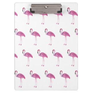 Watercolor Flamingo Pattern on a Clipboard