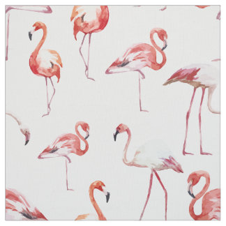 Watercolor flamingo pattern tropical bird fabric