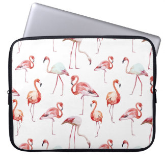 Watercolor flamingo pattern tropical laptop sleeve