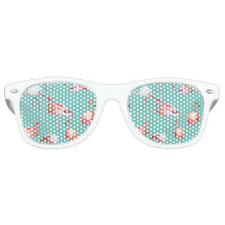 Watercolor flamingo tropical turquoise pattern retro sunglasses