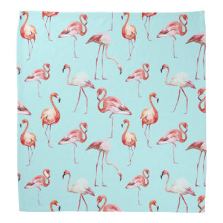 Watercolor flamingo turquoise pattern tropical bandana